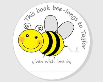 Bee Bookplate Baby Shower Stickers