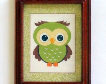 Dollhouse Miniature Framed Owl Pic for Nursery or Child's Room, 1/12th Scale