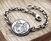 Wolf bracelet, sterling silver bracelet, wolf jewelry, gift for her, Christmas gift totem animal spirit guide, girlfriend gift coworker gift
