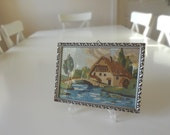 Vintage Petite Point Needlework Embroidered Picture Framed Cottage Belgium Handmade -  EnglishPreserves