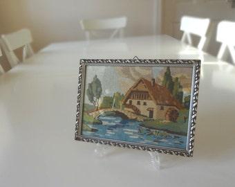Vintage Petite Point Needlework Embroidered Picture Framed Cottage Belgium Handmade -  EnglishPreserves
