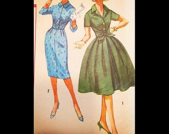 Vintage 50s 60s Tie Front Shirtwaist Sheath Wiggle Full Skirt Day Dress Sewing Pattern B31 3034