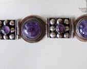 1940s Vintage Mexican Bracelet amethyst sterling silver