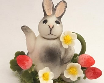 1:12 scale bunny in a strawberry field teapot.
