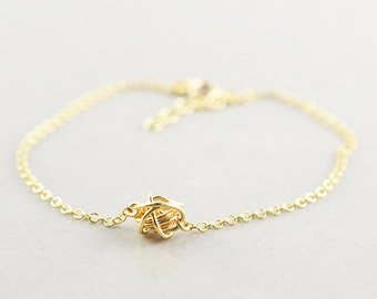 Gold Knot Bracelet, Bridesmaid Gift, Love Knot Bracelet, Tie The Knot