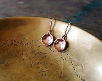 Tiny Rose Gold Pool Earrings in Gold Filled - Pink Gold Earrings, Tiny Gold Dot Circle Earrings, 14K Rose Gold Filled Earrings
