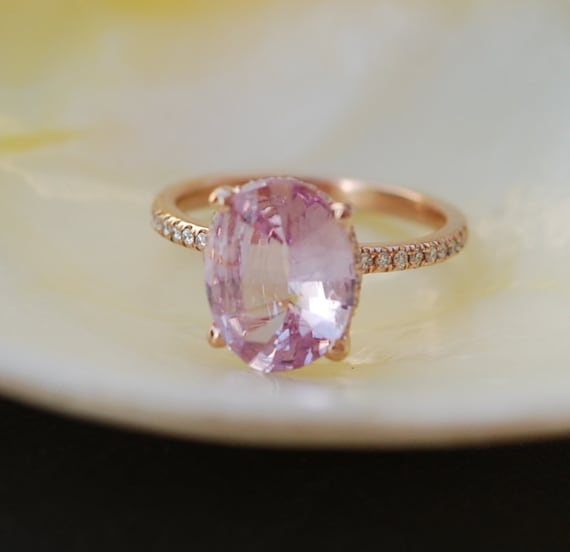 Blake Lively ring Peach Pink Sapphire Engagement Ring oval cut