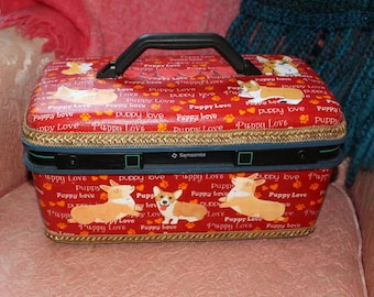 Puppy Love Corgi Grooming Case, Make up Case, Travel Case
