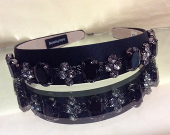 Handmade by me Vintage Style Smokey and Black Bling covered headband embellished band