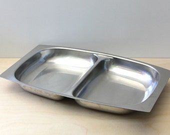 Arthur Salm Swedish modern stainless steel divided dish.