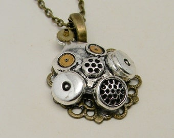 Steampunk gas mask necklace pendant. Steampunk jewelry.