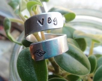 Veg Vegetarian Ring- Vegan Leaf Stamped Ring- Silver Wrapped Ring- Adjustable Aluminum Silver Stamped Spring