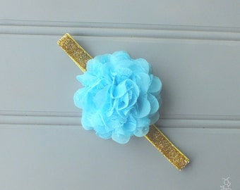 Turquoise and Gold Baby Headband, Gold Headband, 1st Birthday Outfit Headband, Going Home Outfit Headband, Baby Shower Gift Newborn Headband