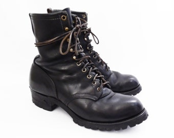60's 70's CHIPPEWA steel toe boots // vintage black logger boots // lace up rugged work boots // men's size 8 1/2