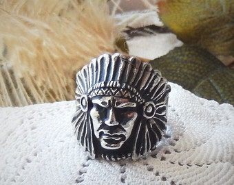 Vintage .925 Sterling Silver Chief's Head Men's Ring Size 10.5