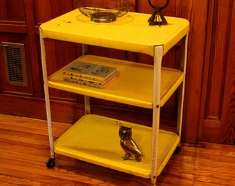 Vintage metal cart - serving cart - kitchen cart - bar cart - coffee station - Cosco - yellow - wheels - 3 shelf