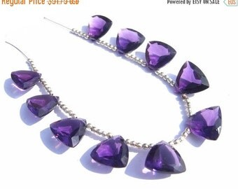 55% OFF SALE 25 Percent Off Sale - 10 Pcs 5 Matched Pair AAA Amethyst Faceted Trillion Briolettes Size 13x13mm High Quality, Wholesale Price