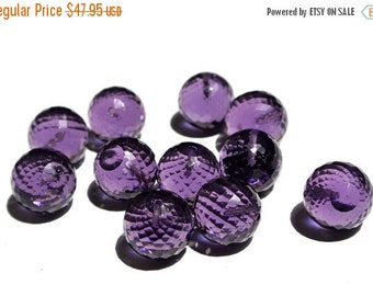 55% OFF SALE 5 Pcs 12mm AAA Hydro Amethyst Faceted Balls or Round Beads 5pcs 2 Pair 1 Focal / Drill Hole You Choose