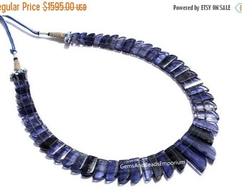 55% OFF SALE Rare! Natural Iolite Gemstone Faceted Horn Beads Collar Necklace /Iolite Necklace /Cleopatra Style Iolite Designer Necklace
