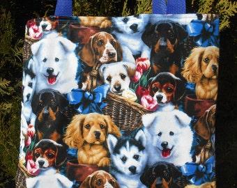 Puppy collage Tote Bag Husky Spaniel Rotweiler flowers baskets Handmade Purse