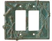 Hummingbird Double Rocker GFI Light Swtich Cover in Antique Teal Glaze