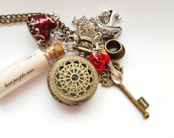 Alice in Wonderland Through The Looking Glass Heart Locket Drink Me Pocket Watch Necklace