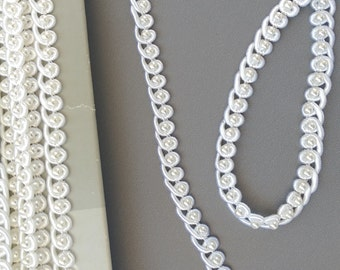 White Beaded Trim by the Yard, White Pearls and Soutache Trim 1/4 inch wide