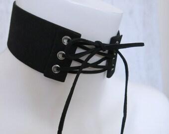 Thick Lace Up Black Band Choker Corset Choker