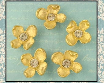 2 Hole Beads Dogwood Flowers MATTE GOLD Metal with 10mm Clear Swarovski Crystal Elements ~ Sliders QTY 5