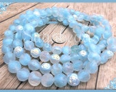 10 Blue Czech Glass Rose Beads with AB Finish 9mm