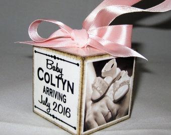Expecting Baby Christmas Photo Block Ornament, Baby Announcement Ornament, Personalized Expecting Christmas Ornament