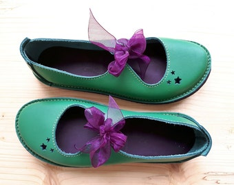 SALE. UK 4, Handmade Ladies Shoes, Fairytale, LUNA Shoes 3030 emerald green