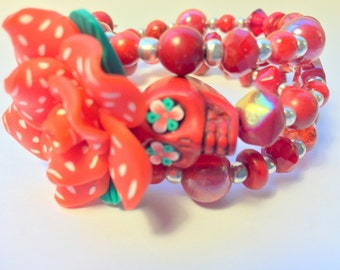 All Red Day of the Dead Sugar Skull and Rose Memory Wire Bracelet