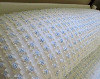"""Vintage Chenille Bedspread Blue Yellow Rosebuds - Large Queen King 126"""" x 128"""" - Shabby Cottage Boudoir"""