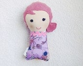 Stuffed Mini Dollie, Small Fabric Doll, Cloth Stuffed Doll, Pink Haired Girl, Tiny Soft Doll