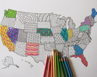 Adult Coloring Poster United States Map // Adult Coloring // Adult Coloring Page // Travel Map Wall Art // Coloring Book // USA