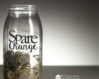 Spare Change - Home Decor - Vinyl Lettering - Vinyl Decals - Removeable - Washer Dryer Decor - Wall Art Words Text Door Sticker Decal 1922