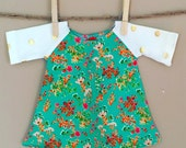 """shortees wee knockout dress for 18"""" american doll - flowers and dots - raglan baseball sleeves - matching girl dress available"""