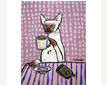 Siamese Cat at the Coffee Shop Art Print