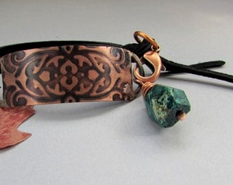 Exotic Forest - Bracelet of Turquoise Green Chrysocolla Embossed Copper Black Leather Rustic Earth Unisex Hippie Chic Boho