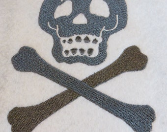 Skull and Cross Bones Embroidery Design - 5x7