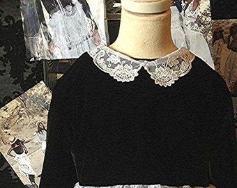 Designer Easter Long sleeve black velvet and vintage white ruffled laces classic girls dress, Flower girl dress