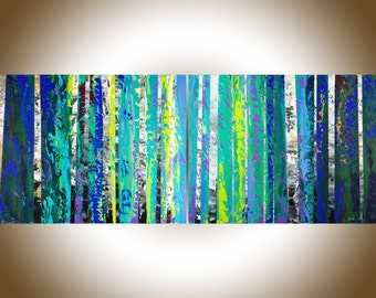 Contemporary wall art birch painting Original artwork a pair of painting blue green white black impasto canvas art wall art by qiqigallery