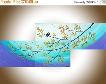 Colorful love birds art set of 3 wall art acrylic landscape painting home decor wall art canvas art shabby chic by QIQIGALLERY