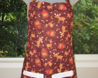womens aprons - holiday aprons - woodland animals