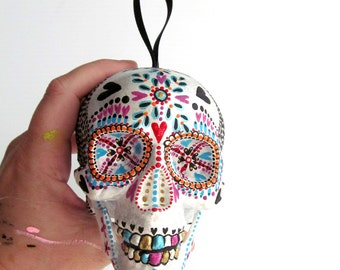 Hand Painted Skull Ornament Plastic shatterproof ornament Painted Skull