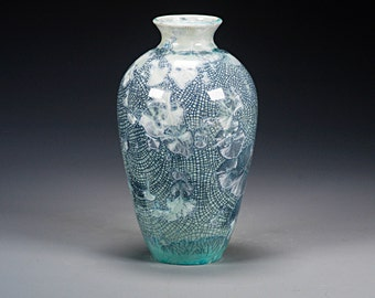 Ceramic Vase -  Green  - Crystalline Glaze on High-Fire Porcelain - Hand Made Pottery - FREE SHIPPING - #A-5359