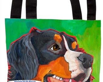 Bernese mountain dog canvas tote bag, berner beach bag, bernese fashion handbag, bernese dog portrait custom tote bag
