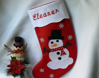 Snowman Christmas Stocking|Personalized Red Felt Christmas Stocking|Traditional Christmas Stocking|Christmas Home Decor|Child Felt Stocking