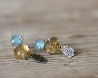 Blue Chacedony and Citrine Form Studs